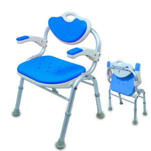 LH033 Folding Chair Bath Chair with Armrests folded and unfolded