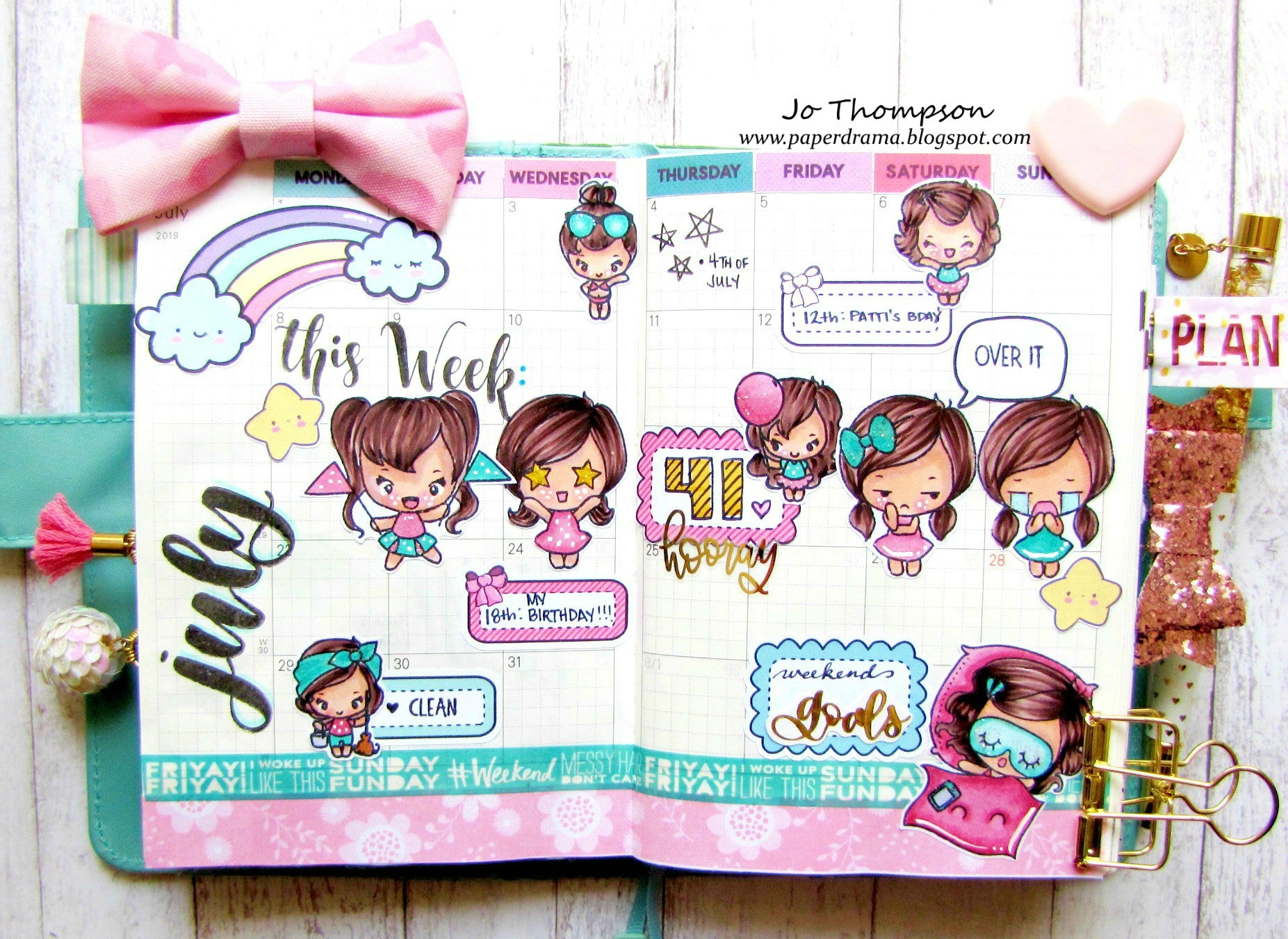 Guest Designer Jo Thompson with her July Planner Page!