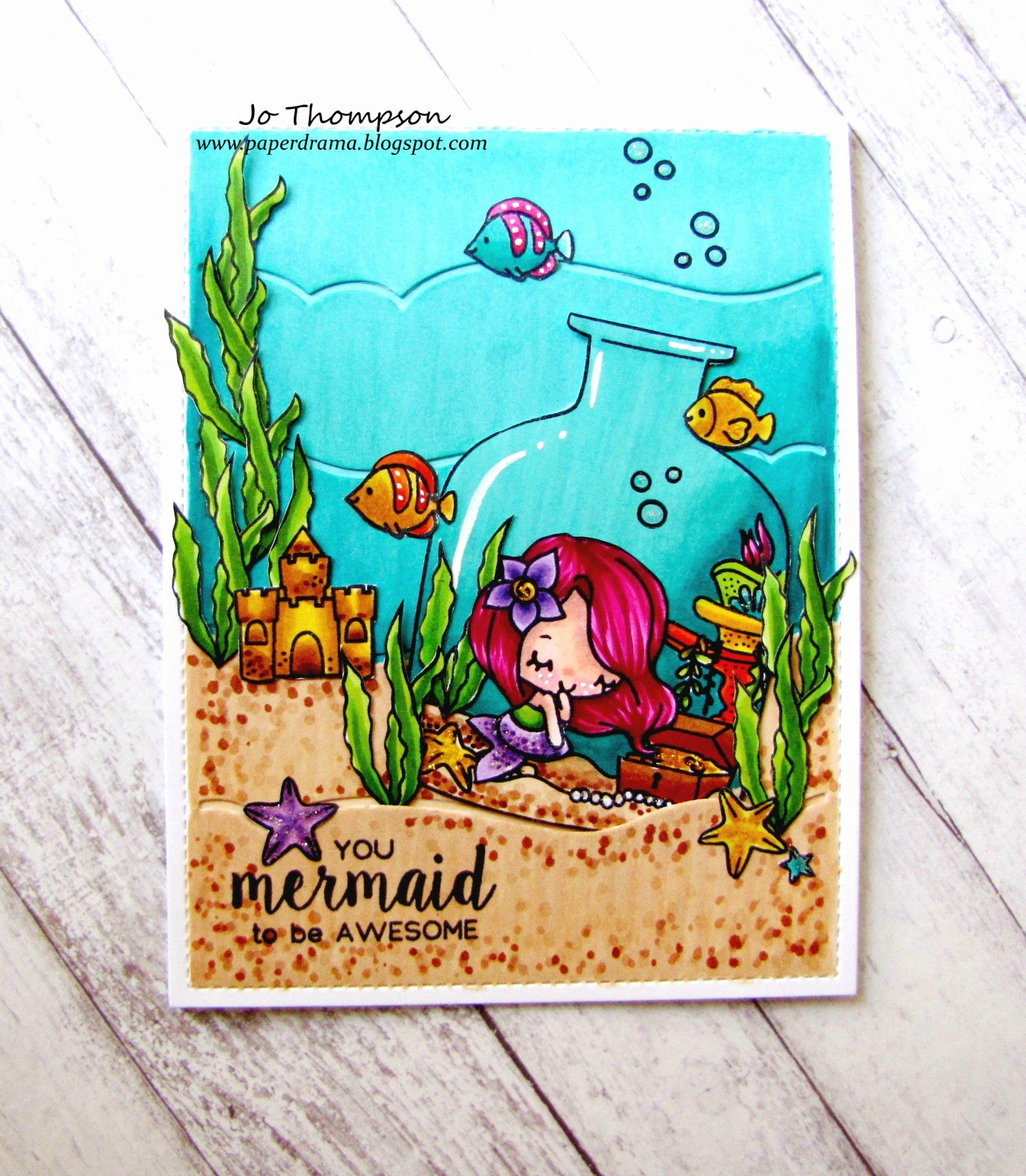 Guest Designer Jo with an AWESOME MERMAID card!