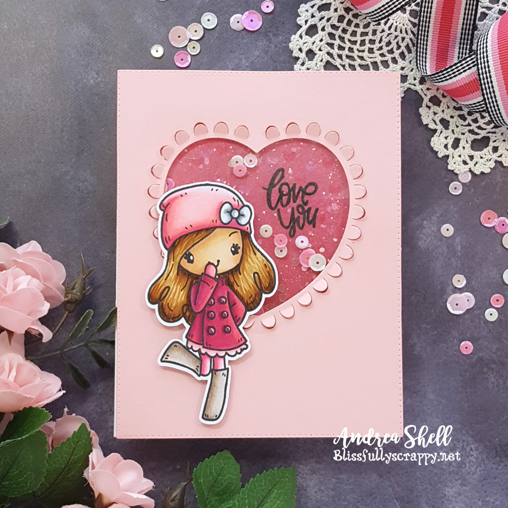 Guest Designer Andrea Shell with Miss Anya Hello Winter Shaker Card
