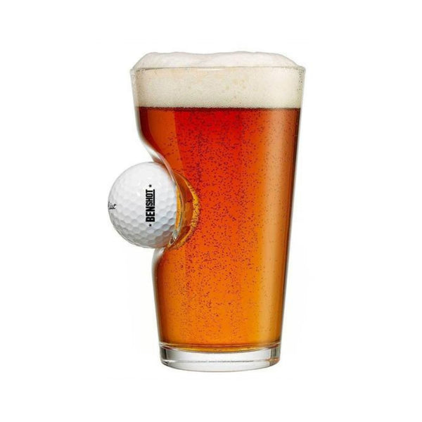 benshot glass with a golf ball in the side of the glass