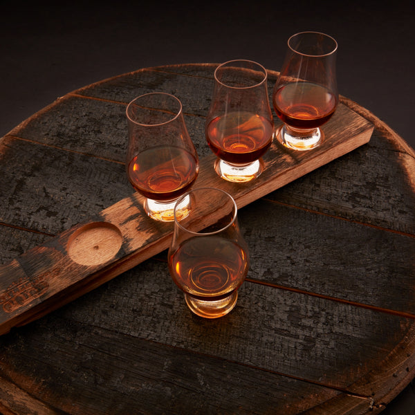 Whiskey Barrel Flight Board with Glencairn whiskey glasses
