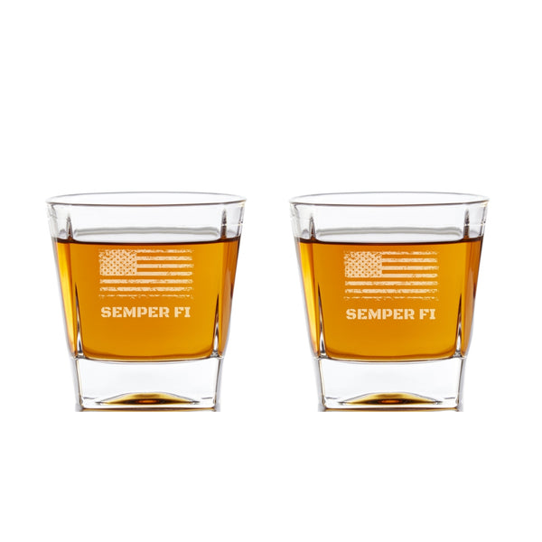 two personalized whiskey glasses with an American Flag