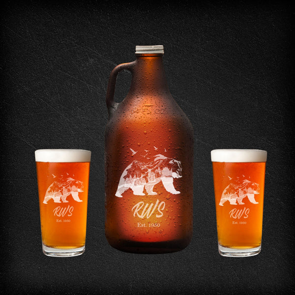engraved growler set with two pint glasses