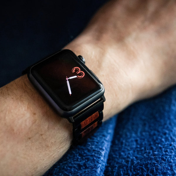 stainless steel apple watch band on wrist