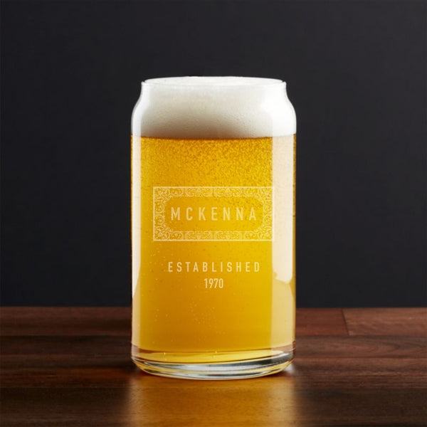 personalized can pint glass