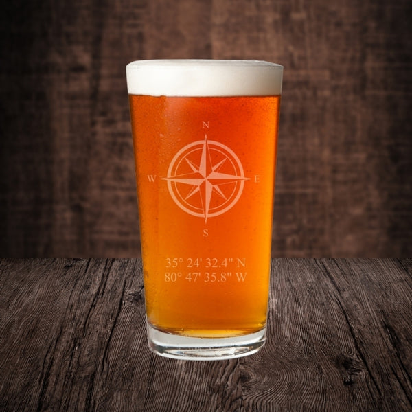 personalized pint glass with coordinates