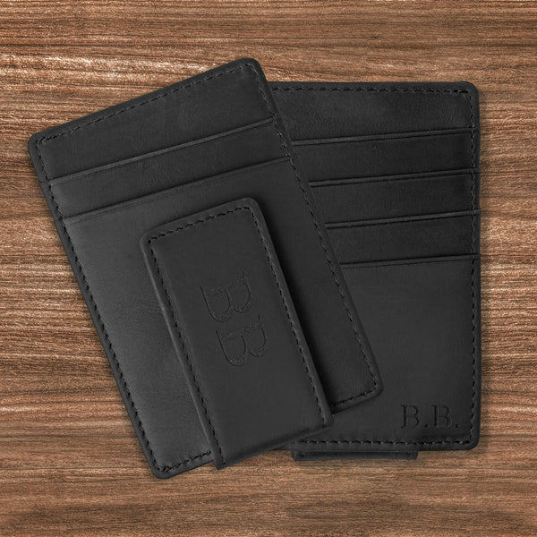 personalized black leather money clip