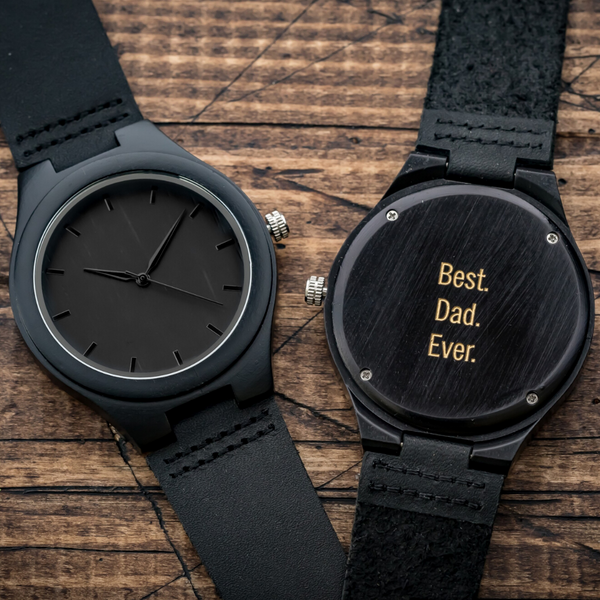 Best Dad Ever Engraved Wooden Watch