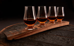 Whiskey Barrel Flight Board + 4 Optional Glencairn Glasses