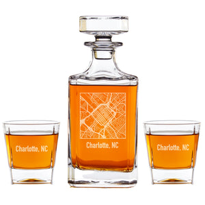 Personalized Whiskey Decanter - City Map Engraving