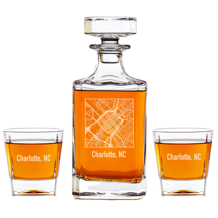 Personalized Whiskey Decanter Set - City Map Engraving