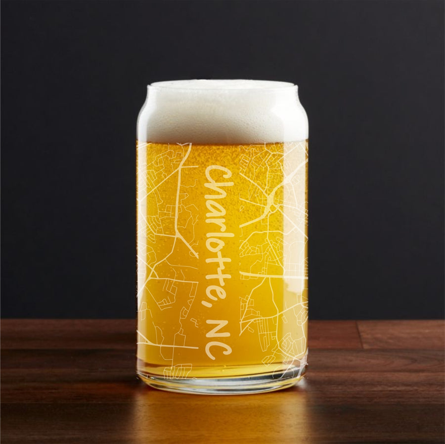 City Map Can Shaped Pint Glass