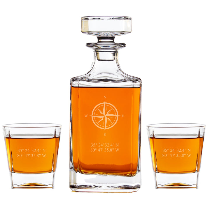 Personalized Whiskey Decanter Set - Compass Rose