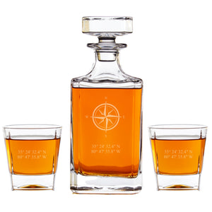 Personalized Whiskey Decanter - Compass