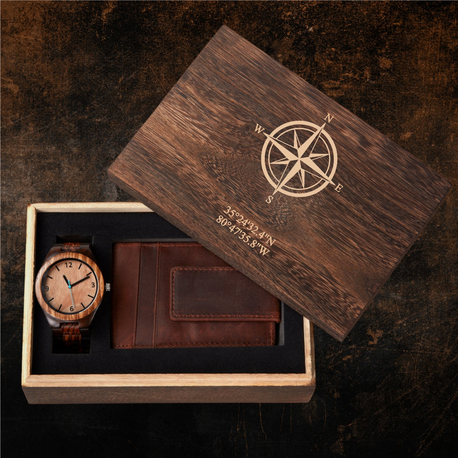 Personalized Gift Box - Compass Rose & Coordinates