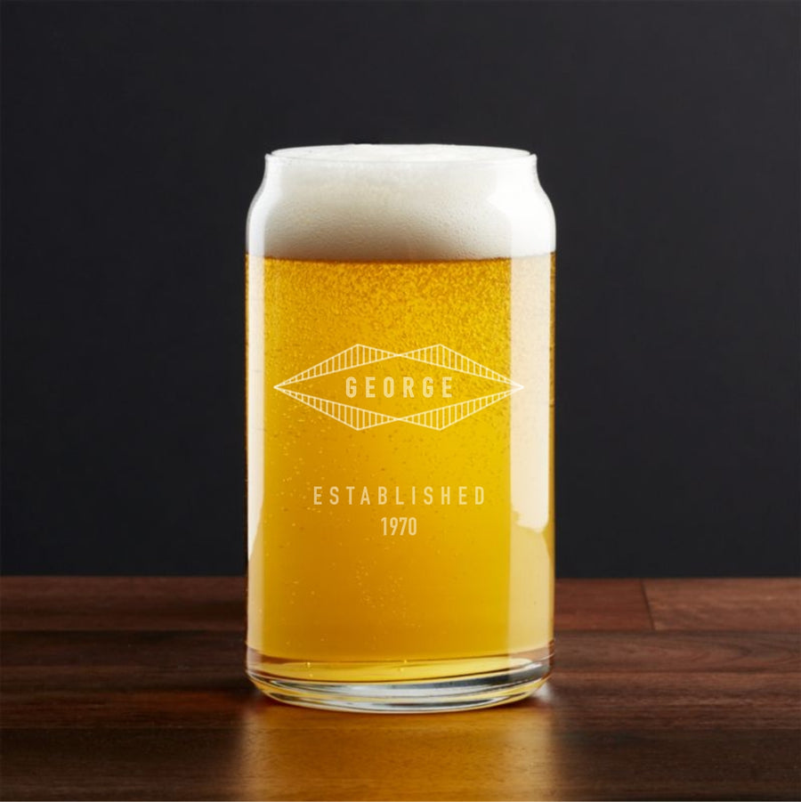 Set of 2 - Personalized 16oz Can Shaped Pint Glasses