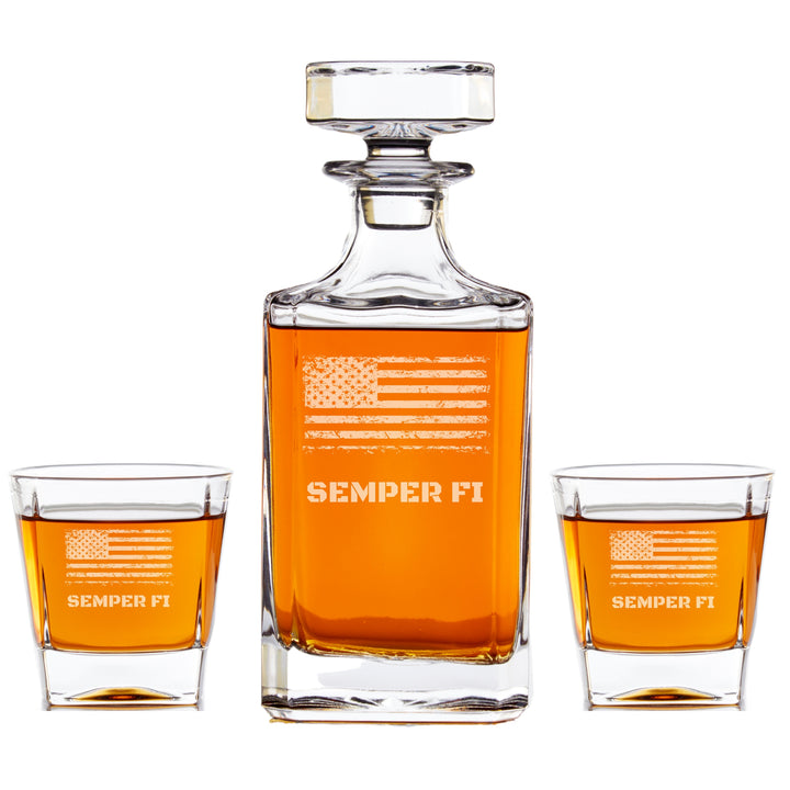 Personalized Whiskey Decanter Set - Distressed Flag