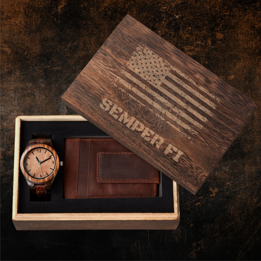 Personalized Gift Box Set - Distressed Flag