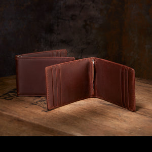 Men's Leather Slim Wallet + Money Clip