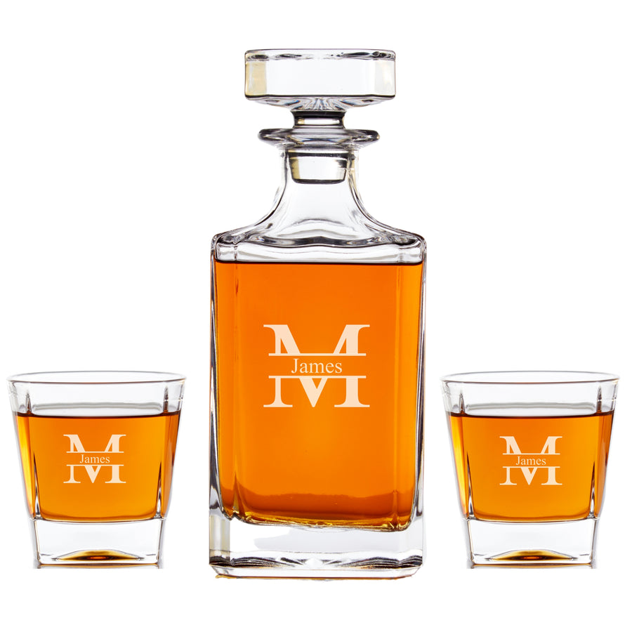 Personalized Whiskey Decanter Set - Modern Monogram