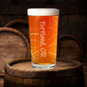 City Map Pint Glass Gift
