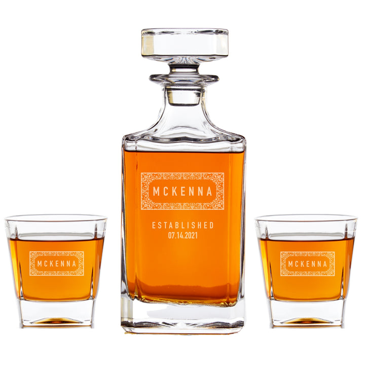 Personalized Whiskey Decanter Set - Crest