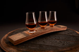 Whiskey Barrel Flight Board + 3 Optional Glencairn Glasses