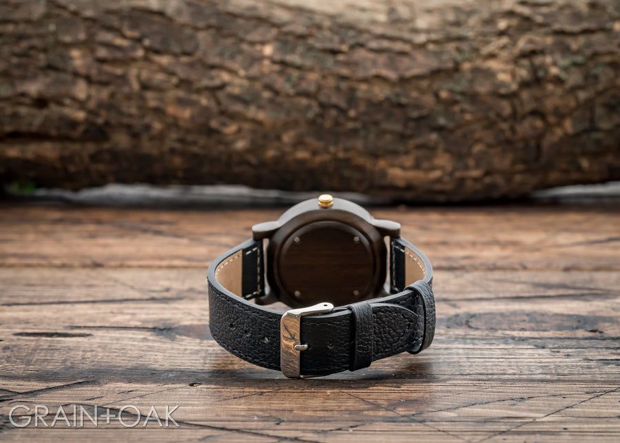 Anderson Ebony | Wood Watch Leather Band Watches Grain and Oak