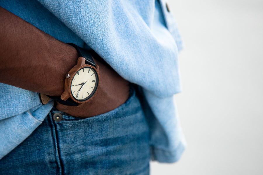 Anderson Walnut | Wood Watch Leather Band Watches Grain and Oak