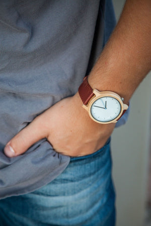 Atlas Maple | Wood Watch Leather Band Watches Grain and Oak