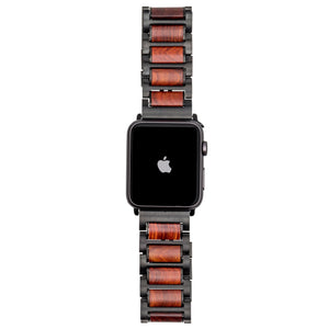Black Stainless Steel + Red Sandalwood 42-44mm Apple Watch Band - Series 1,2,3,4,5 Apple Watch Bands Grain and Oak