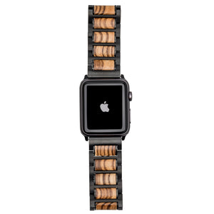 Black Stainless Steel + Zebrawood 38-40mm 42-44mm Apple Watch Bands - Series 1,2,3,4,5 Apple Watch Bands Grain and Oak