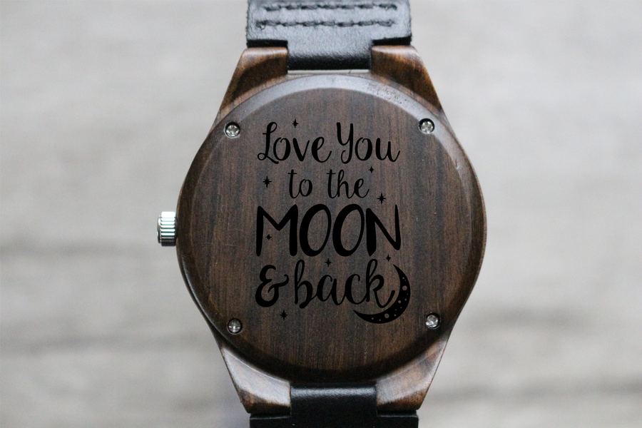 """Love you to the Moon and Back"" - Wood Watch Custom Design Grain and Oak"