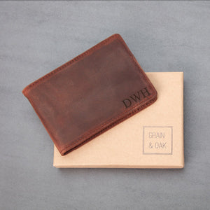 Men's Leather Slim Billfold with Removable Money Clip Wallet Money Clip Grain and Oak
