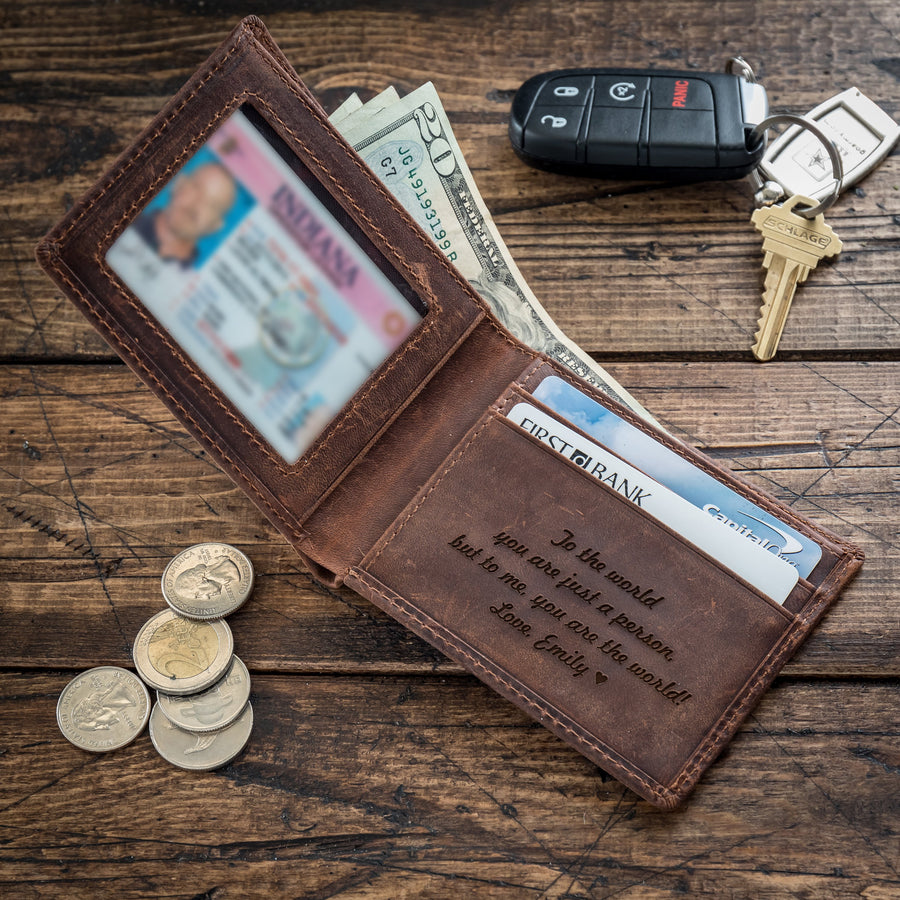 Personalized Leather Billfold for Men Wallet Grain and Oak