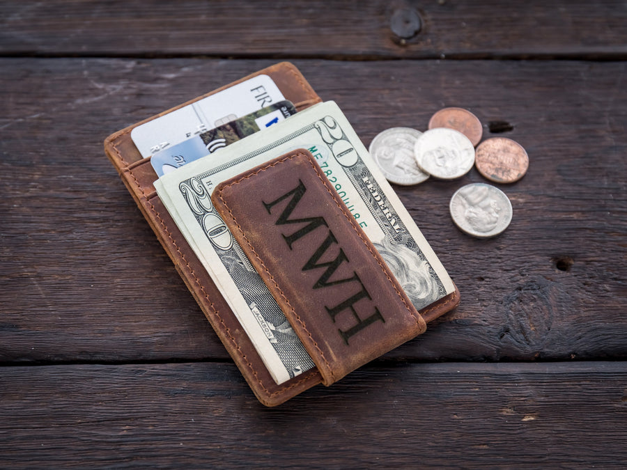 Personalized Money Clip - RFID Blocking Magnetic Money Clip Money Clip Grain and Oak