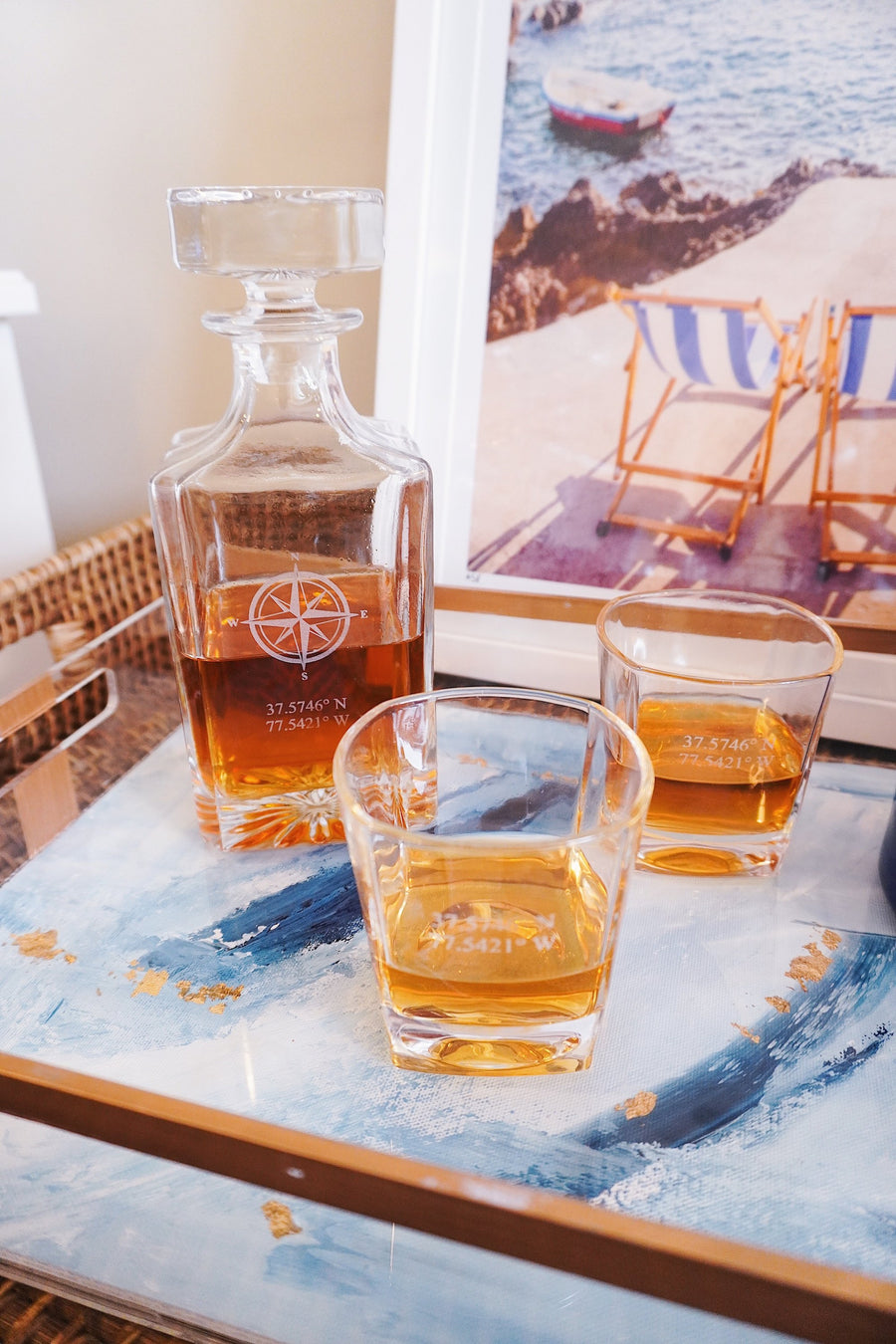 Personalized Whiskey Decanter Set - Compass Rose Whiskey Decanter Set Grain and Oak