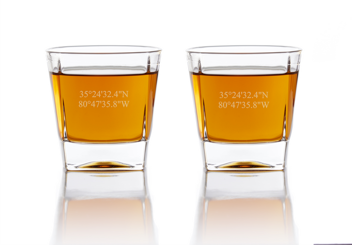 Personalized Whiskey Glasses - Coordinates Whiskey Glasses Grain and Oak