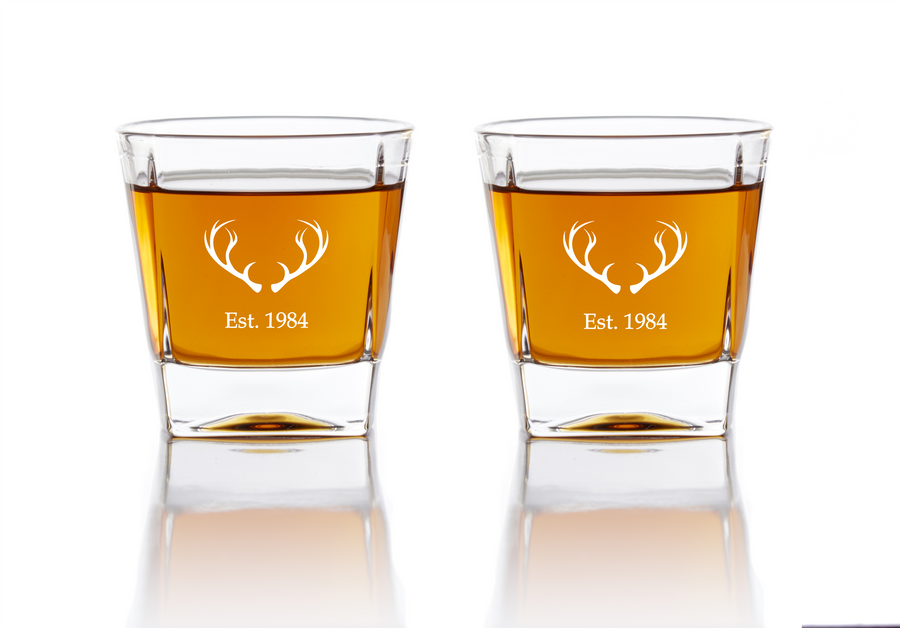 Personalized Whiskey Glasses - The Hunter Whiskey Glasses Grain and Oak