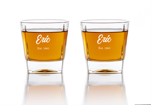 Personalized Whiskey Glasses - Vintage Whiskey Glasses Grain and Oak
