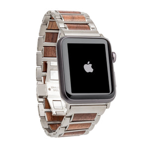 Stainless Steel + Walnut | 38-40mm 42-44mm Apple Watch Band | Series 1,2,3,4,5 Apple Watch Bands Grain and Oak