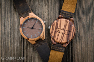 The Burton Zebrawood | Set of 12 Groomsmen Watches Grain and Oak