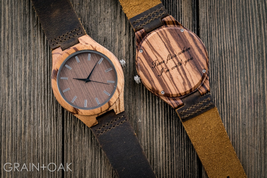 The Burton Zebrawood | Set of 6 Groomsmen Watches Grain and Oak