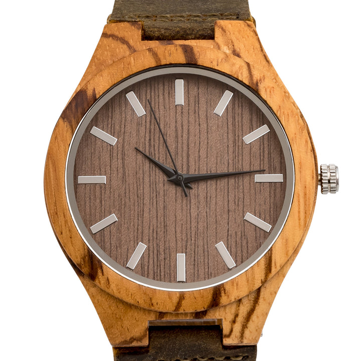 The Burton Zebrawood | Set of 9 Groomsmen Watches Grain and Oak