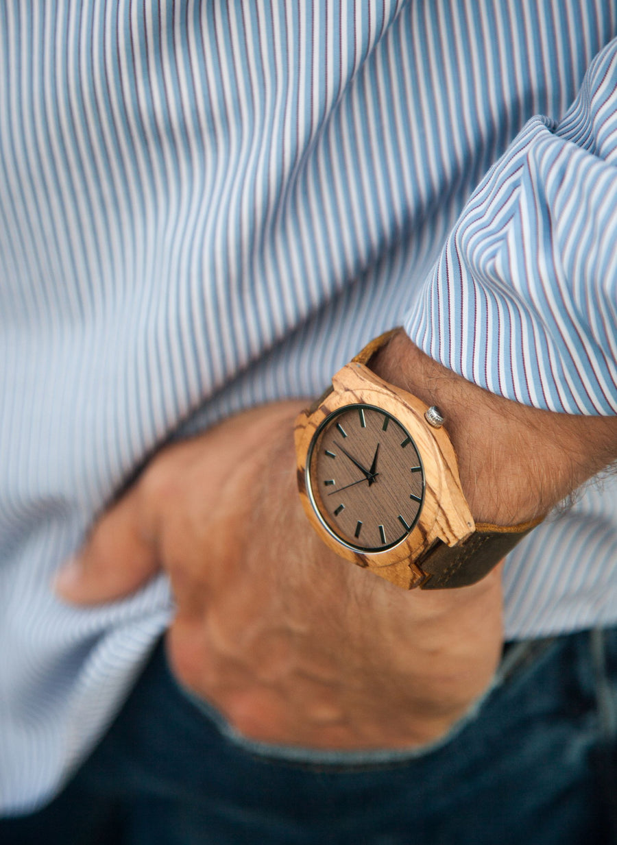 The Burton Zebrawood | Wood Watch Leather Band Watches Grain and Oak