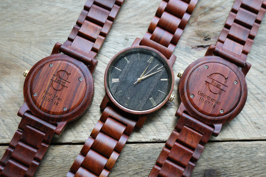 The Cedric Sandalwood | Set of 12 Groomsmen Watches Grain and Oak