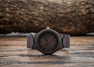 The Christopher Red | Wood Watch Leather Band Watches Grain and Oak