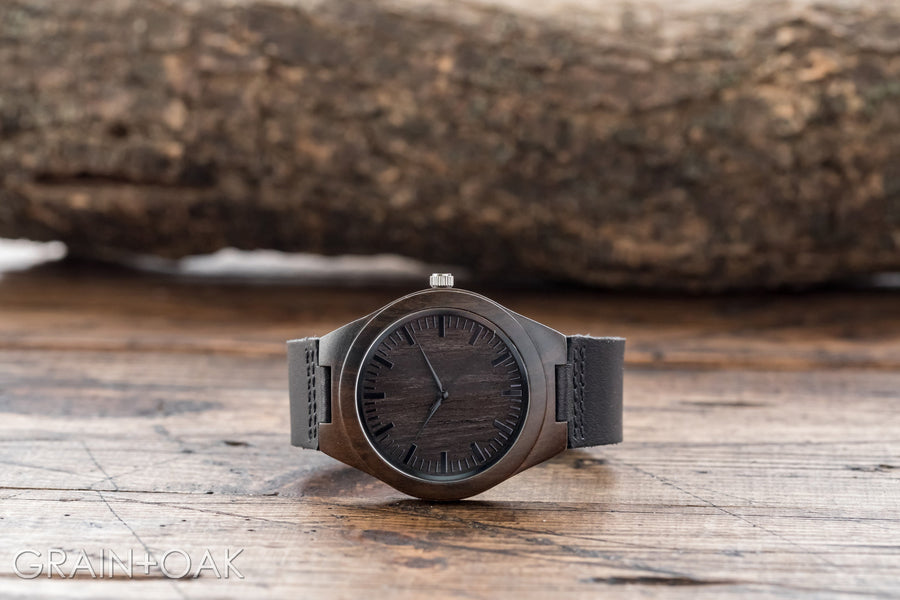 The Christopher | Wood Watch Leather Band Watches Grain and Oak
