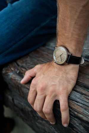 The Edwin | Wood Watch Leather Band Watches Grain and Oak